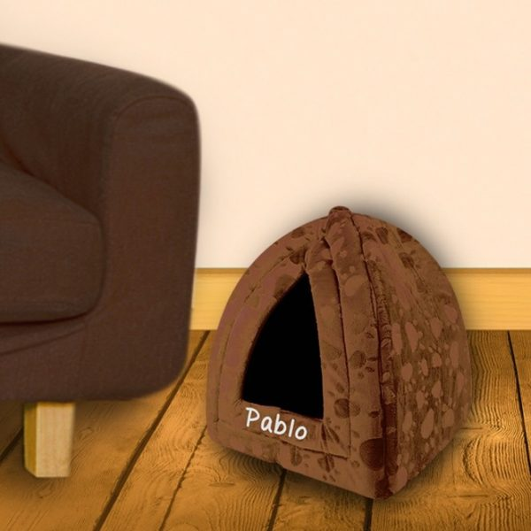 personalised cat bed - brown