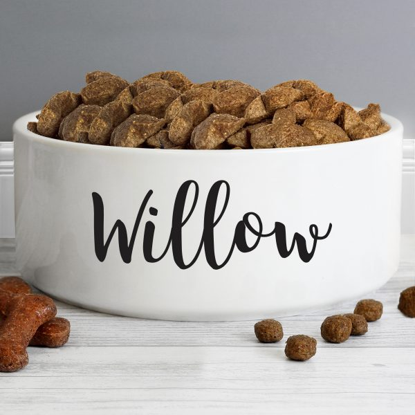 Personalised Large White Dog Bowl