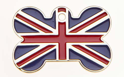 Union Jack Bone ID Dog Tag