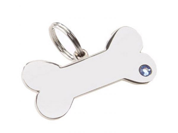rhinestone bone dog name tag