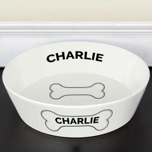Personalised Dog Bone Large Dog Bowl