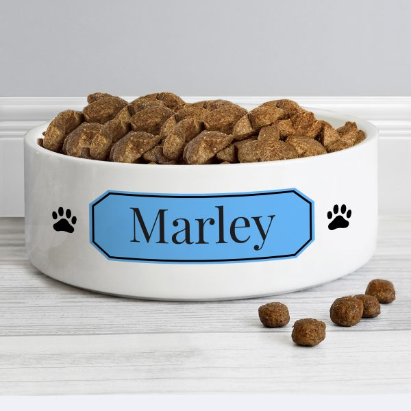 Personalised Blue Plaque 14cm Medium Pet Bowl