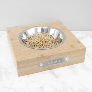 Personalised Bamboo Dog Bowl with Metal Tag