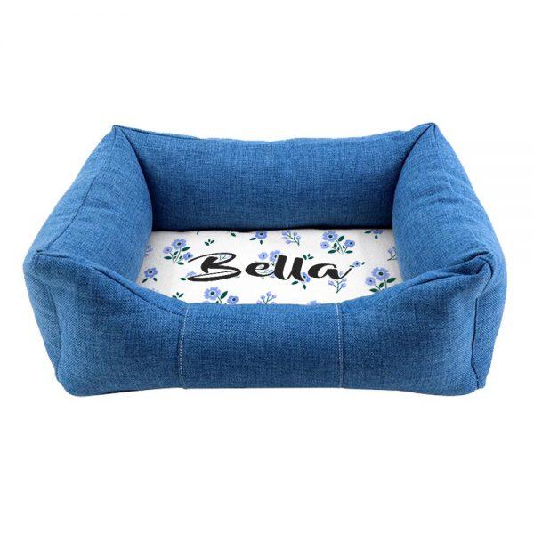 Personalised Blue Comfort Floral Dog Bed