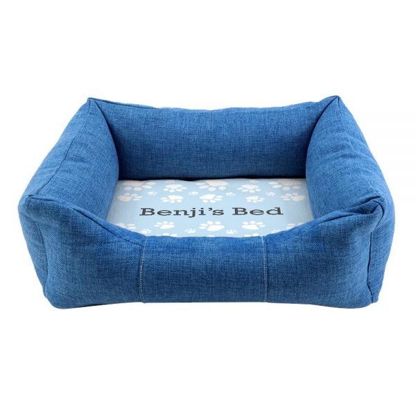 Personalised Blue Comfort Paw Print Dog Bed