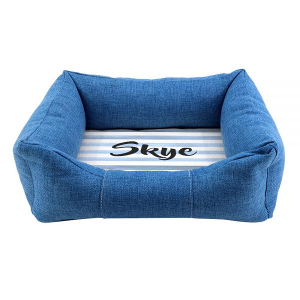 Personalised Blue Comfort Striped Dog Bed