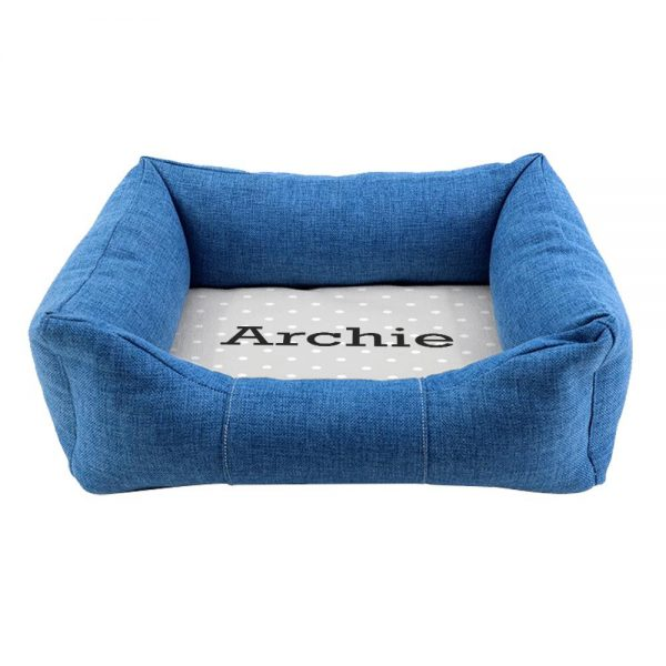Personalised Blue Comfort Grey Spots Dog Bed