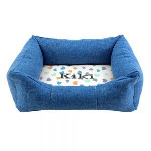 Personalised Blue Comfort Heart Design Dog Bed
