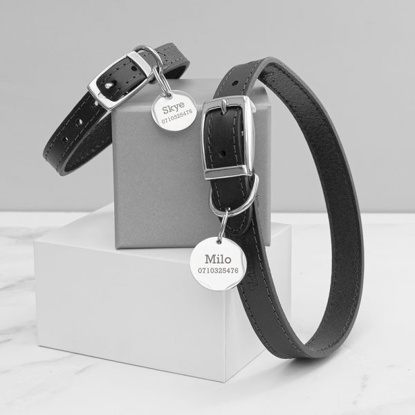 Personalised Classic Black Leather Dog Collar With Tag