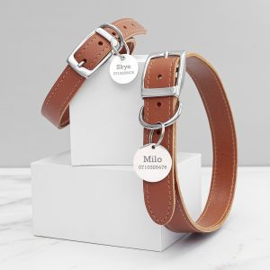 Personalised Classic Brown Leather Dog Collar with Tag