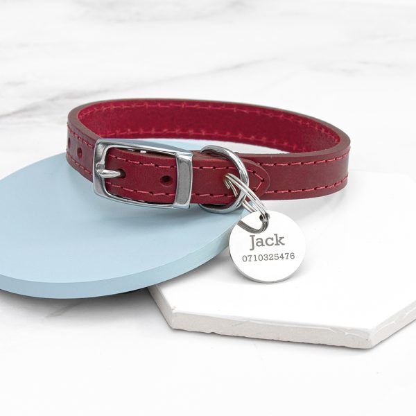 Personalised Classic Red Leather Dog Collar with Tag