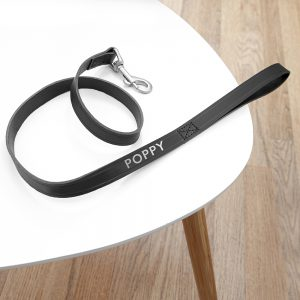 Personalised Classic Black Leather Dog Lead