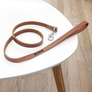 Personalised Classic Brown Leather Dog Lead