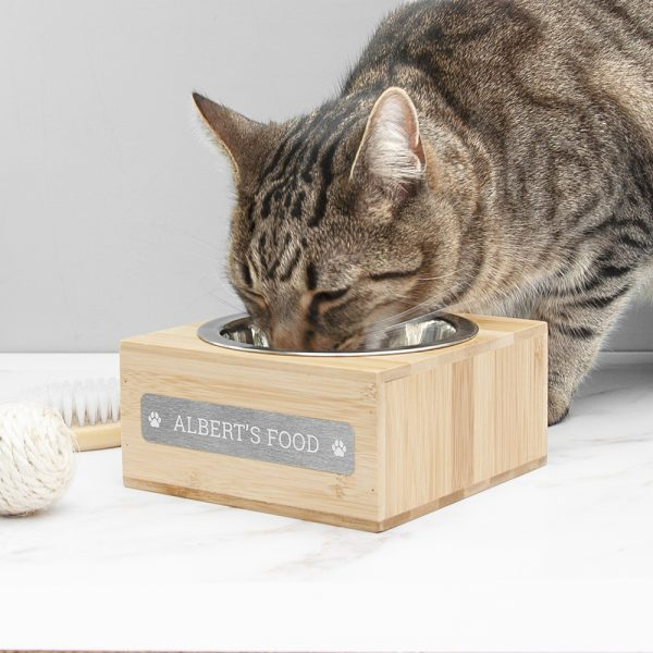 Personalised Small Bamboo Wooden Pet Bowl